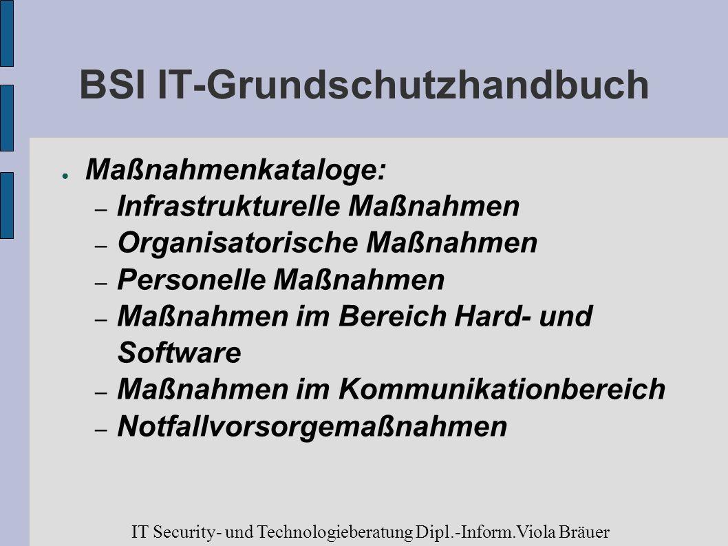 BSI IT-Grundschutzhandbuch Maßnahmenkataloge: – Infrastrukturelle Maßnahmen – Organisatorische Maßnahmen – Personelle Maßnahmen – Maßnahmen im Bereich