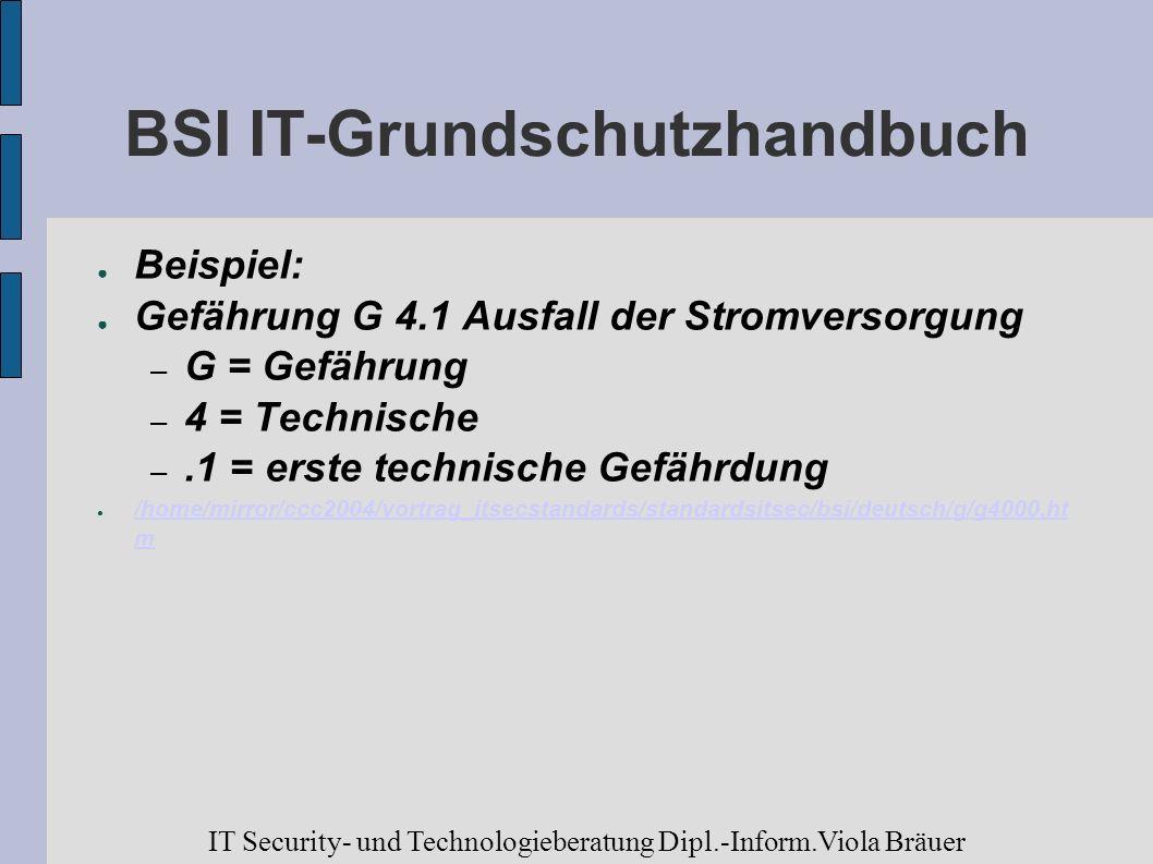 BSI IT-Grundschutzhandbuch Beispiel: Gefährung G 4.1 Ausfall der Stromversorgung – G = Gefährung – 4 = Technische –.1 = erste technische Gefährdung /h
