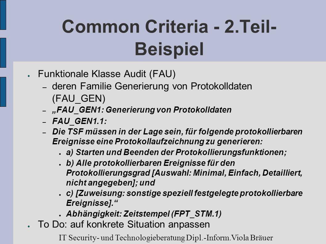 Common Criteria - 2.Teil- Beispiel Funktionale Klasse Audit (FAU) – deren Familie Generierung von Protokolldaten (FAU_GEN) – FAU_GEN1: Generierung von