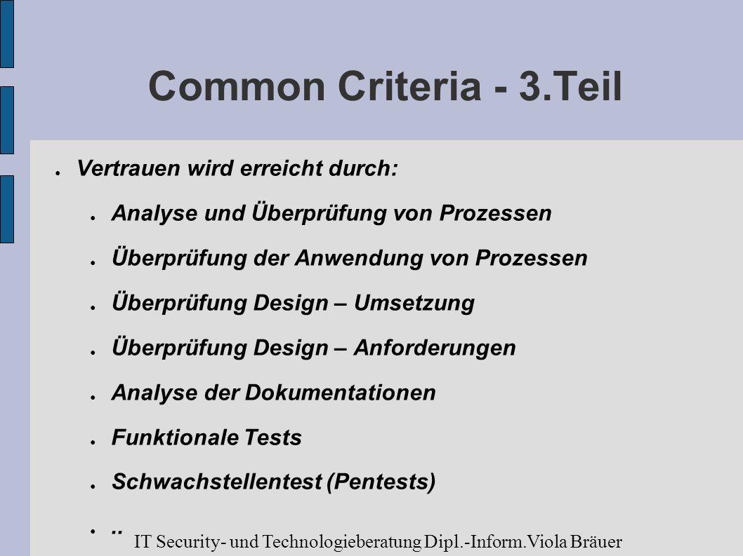 Common Criteria - 3.Teil Vertrauen wird erreicht durch: Analyse und Überprüfung von Prozessen Überprüfung der Anwendung von Prozessen Überprüfung Desi