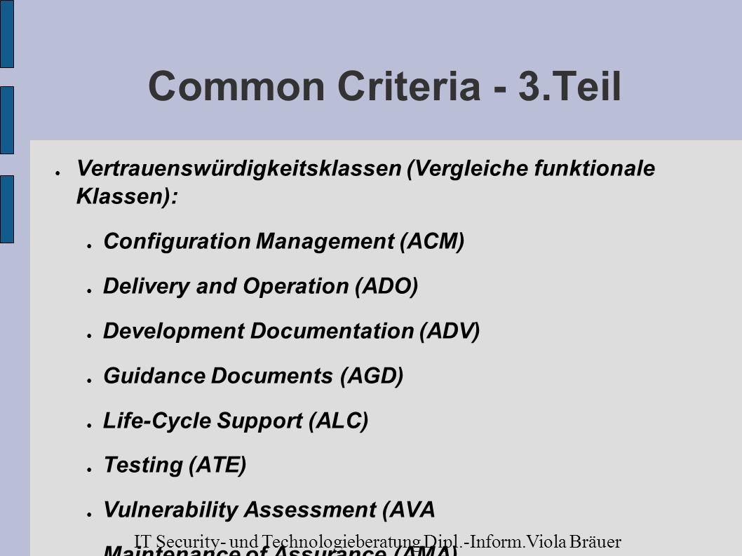 Common Criteria - 3.Teil Vertrauenswürdigkeitsklassen (Vergleiche funktionale Klassen): Configuration Management (ACM) Delivery and Operation (ADO) De