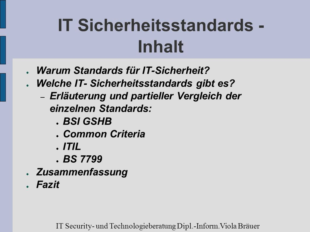 andere Ansätze Cobit: Control objectives for information and relates technology ISO/IEC TC 68 Banking and other financial services Technical Report (TR) 13569 Information security Guidelines IT Security- und Technologieberatung Dipl.-Inform.Viola Bräuer