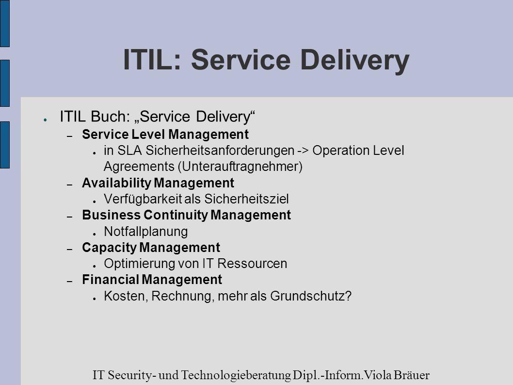 ITIL: Service Delivery ITIL Buch: Service Delivery – Service Level Management in SLA Sicherheitsanforderungen -> Operation Level Agreements (Unterauft