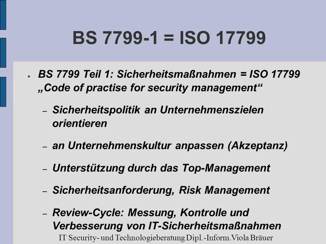 BS 7799-1 = ISO 17799 BS 7799 Teil 1: Sicherheitsmaßnahmen = ISO 17799 Code of practise for security management – Sicherheitspolitik an Unternehmenszi