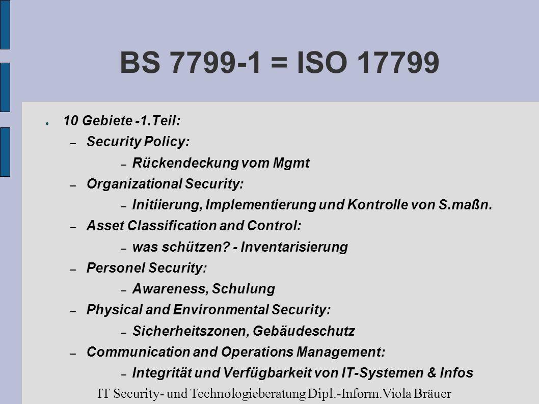 BS 7799-1 = ISO 17799 10 Gebiete -1.Teil: – Security Policy: – Rückendeckung vom Mgmt – Organizational Security: – Initiierung, Implementierung und Ko