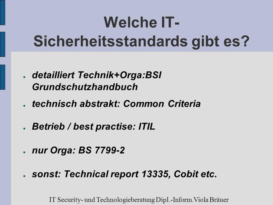 Welche IT- Sicherheitsstandards gibt es? detailliert Technik+Orga:BSI Grundschutzhandbuch technisch abstrakt: Common Criteria Betrieb / best practise: