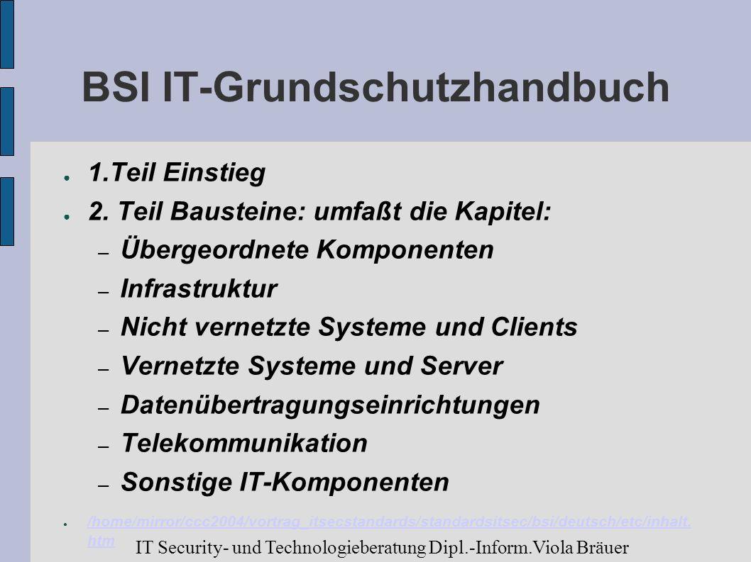 BSI IT-Grundschutzhandbuch 1.Teil Einstieg 2. Teil Bausteine: umfaßt die Kapitel: – Übergeordnete Komponenten – Infrastruktur – Nicht vernetzte System