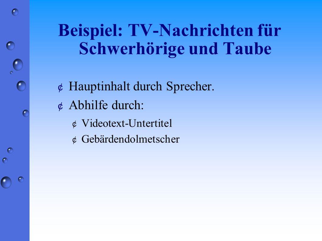 Beispiel: TV-Nachrichten für Schwerhörige und Taube ¢ Hauptinhalt durch Sprecher.
