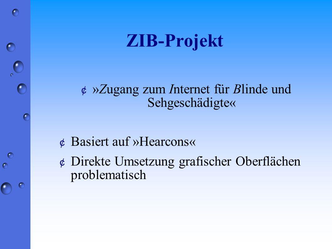 ZIB-Projekt ¢ »Zugang zum Internet für Blinde und Sehgeschädigte« ¢ Basiert auf »Hearcons« ¢ Direkte Umsetzung grafischer Oberflächen problematisch