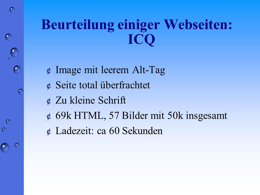 Beurteilung einiger Webseiten: ICQ ¢ Image mit leerem Alt-Tag ¢ Seite total überfrachtet ¢ Zu kleine Schrift ¢ 69k HTML, 57 Bilder mit 50k insgesamt ¢ Ladezeit: ca 60 Sekunden