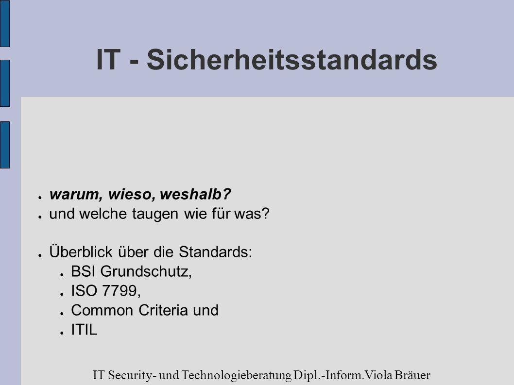 IT - Sicherheitsstandards warum, wieso, weshalb? und welche taugen wie für was? Überblick über die Standards: BSI Grundschutz, ISO 7799, Common Criter