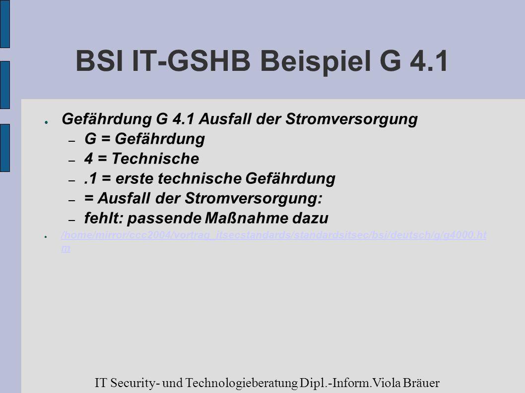 BSI IT-GSHB Beispiel G 4.1 Gefährdung G 4.1 Ausfall der Stromversorgung – G = Gefährdung – 4 = Technische –.1 = erste technische Gefährdung – = Ausfal
