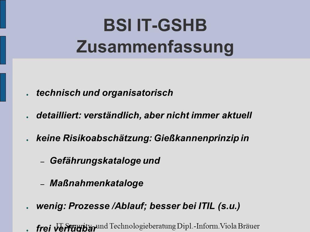 BSI IT-GSHB Zusammenfassung technisch und organisatorisch detailliert: verständlich, aber nicht immer aktuell keine Risikoabschätzung: Gießkannenprinz