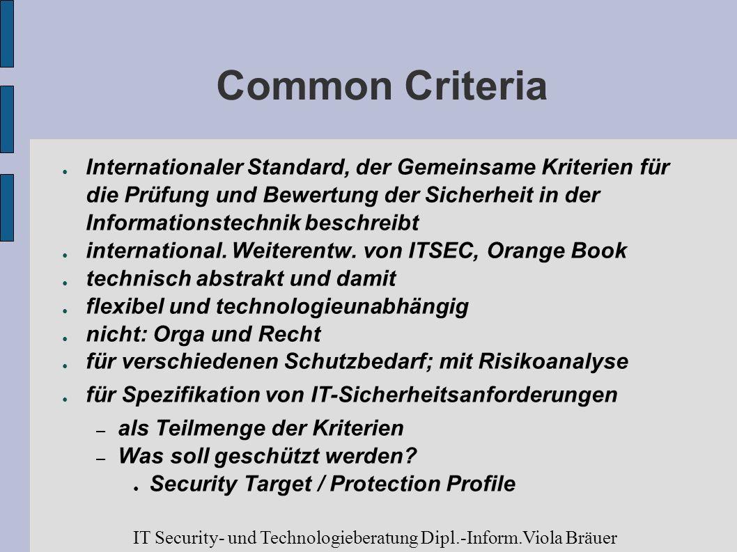 Common Criteria Internationaler Standard, der Gemeinsame Kriterien für die Prüfung und Bewertung der Sicherheit in der Informationstechnik beschreibt