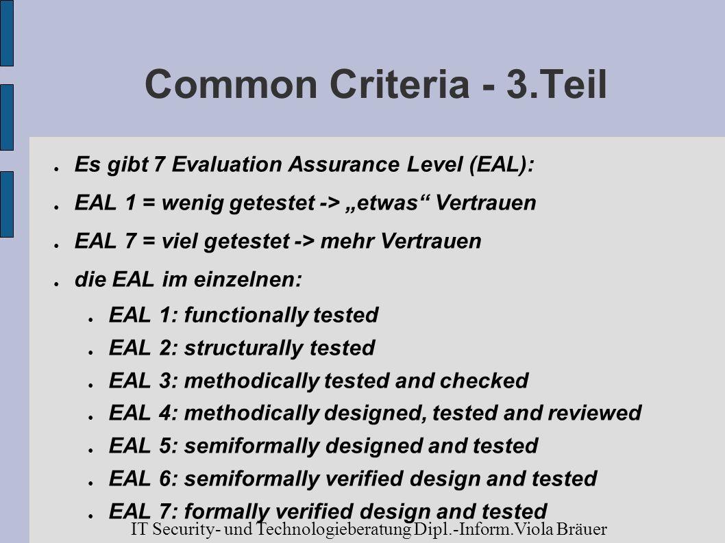 Common Criteria - 3.Teil Es gibt 7 Evaluation Assurance Level (EAL): EAL 1 = wenig getestet -> etwas Vertrauen EAL 7 = viel getestet -> mehr Vertrauen