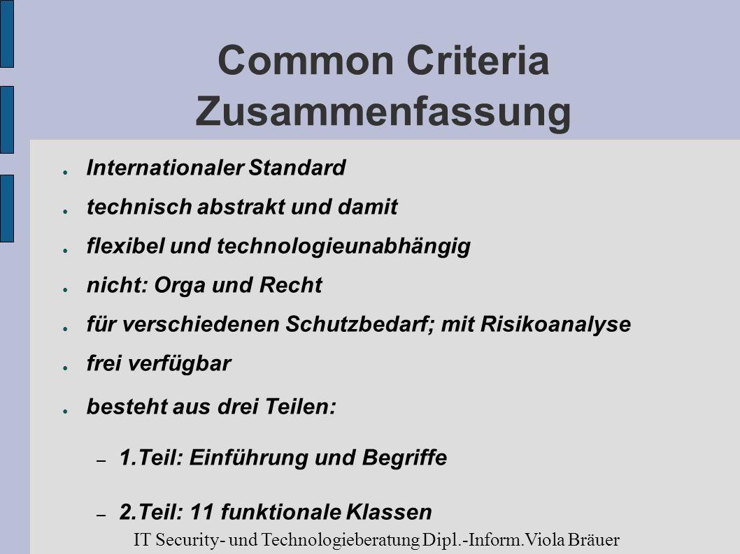 Common Criteria Zusammenfassung Internationaler Standard technisch abstrakt und damit flexibel und technologieunabhängig nicht: Orga und Recht für ver