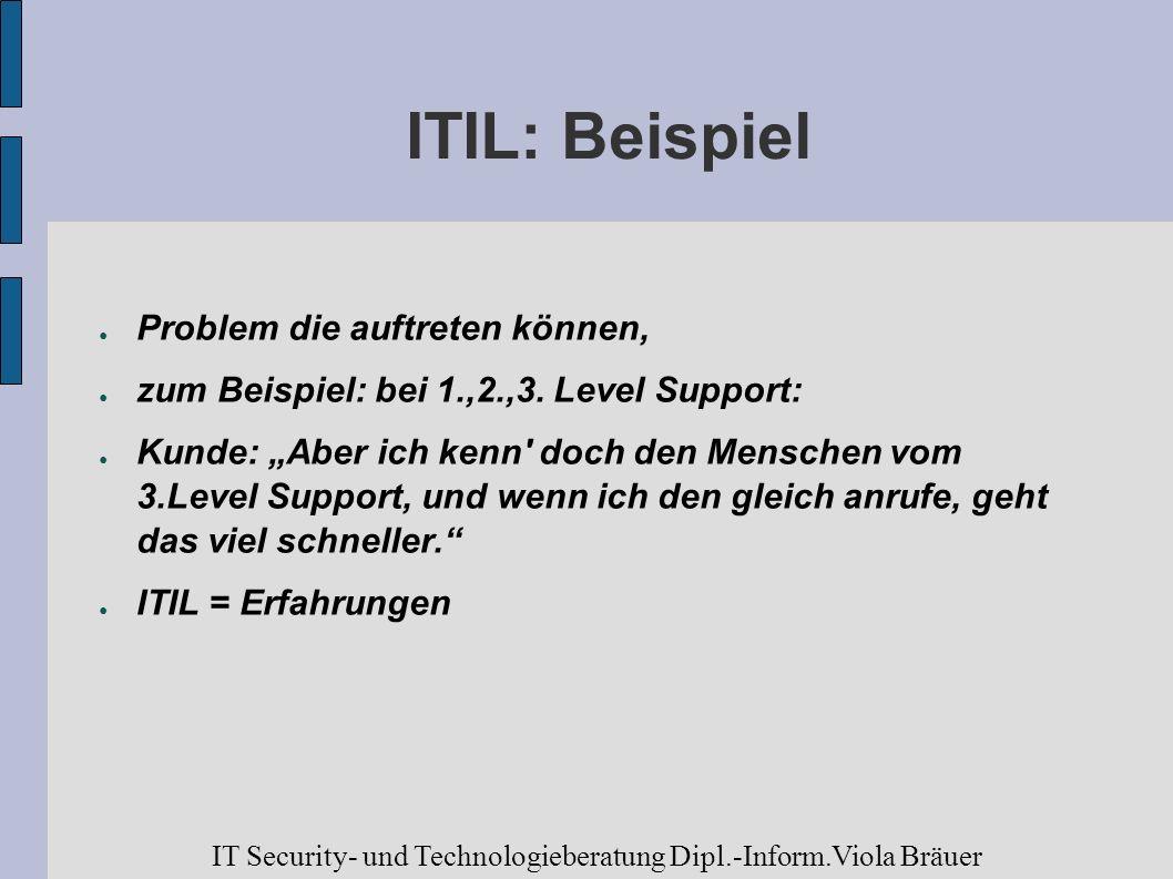 ITIL: Beispiel Problem die auftreten können, zum Beispiel: bei 1.,2.,3. Level Support: Kunde: Aber ich kenn' doch den Menschen vom 3.Level Support, un