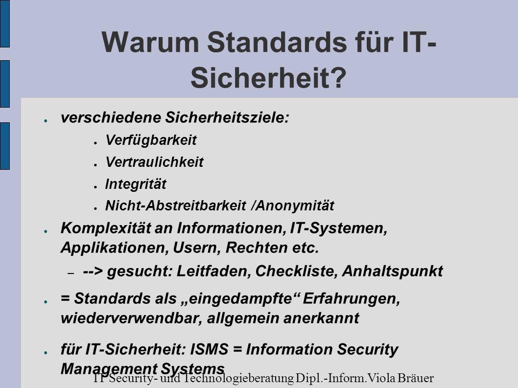 Warum Standards für IT- Sicherheit? verschiedene Sicherheitsziele: Verfügbarkeit Vertraulichkeit Integrität Nicht-Abstreitbarkeit /Anonymität Komplexi