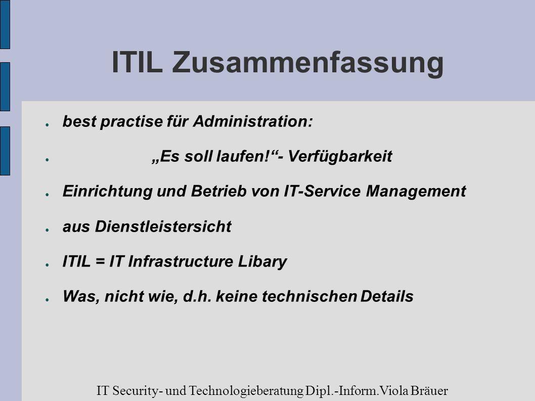 ITIL Zusammenfassung best practise für Administration: Es soll laufen!- Verfügbarkeit Einrichtung und Betrieb von IT-Service Management aus Dienstleis
