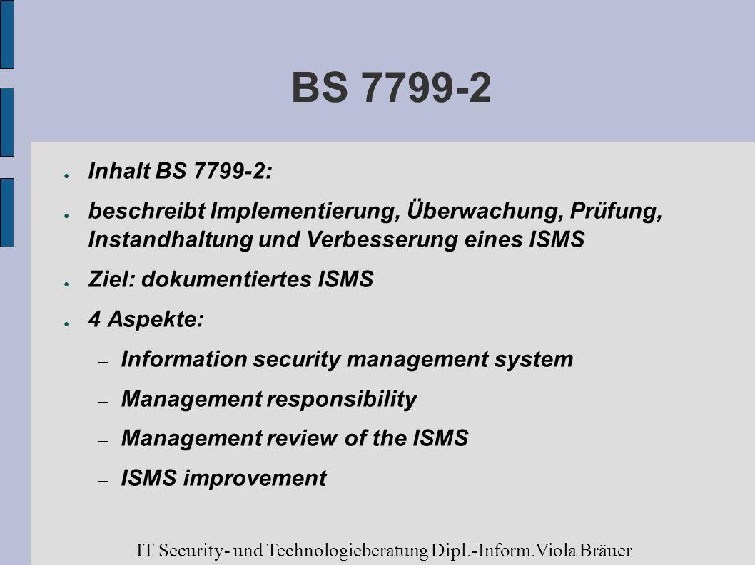 BS 7799-2 Inhalt BS 7799-2: beschreibt Implementierung, Überwachung, Prüfung, Instandhaltung und Verbesserung eines ISMS Ziel: dokumentiertes ISMS 4 A