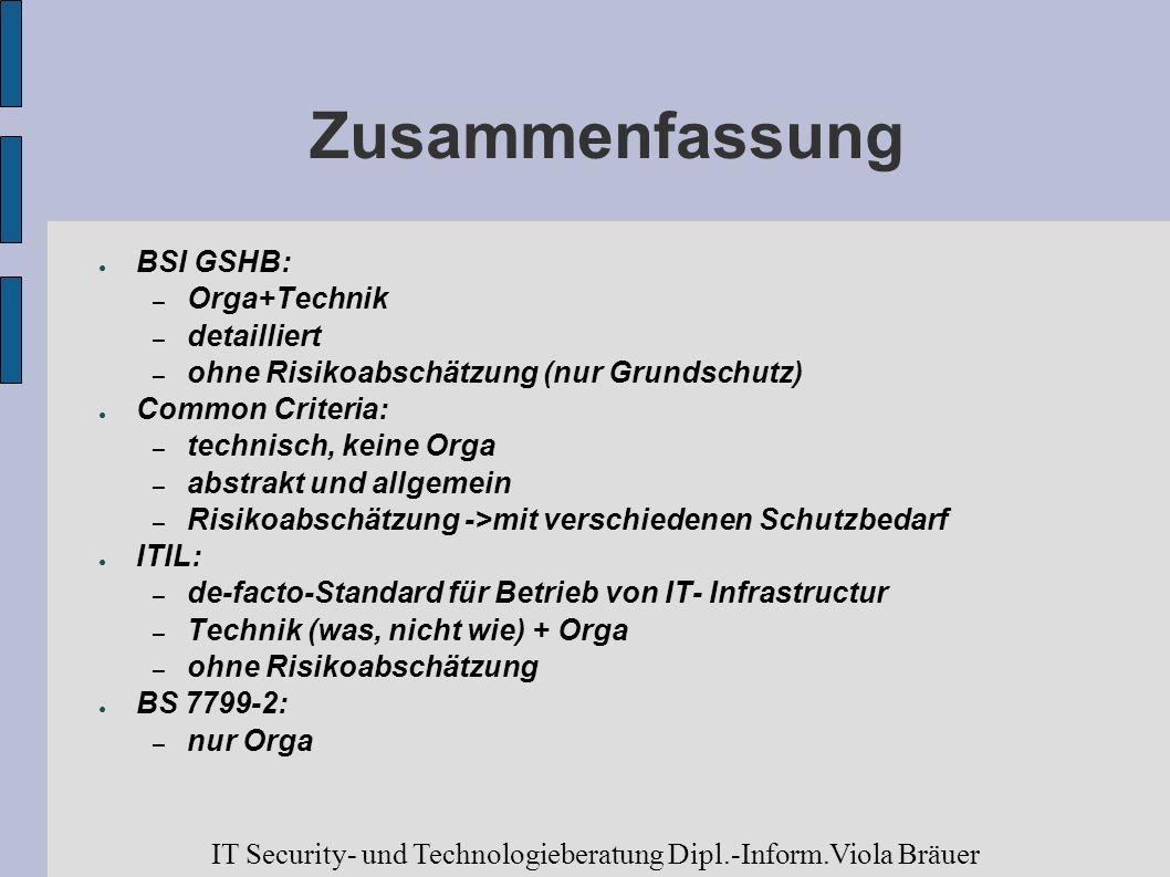 Zusammenfassung BSI GSHB: – Orga+Technik – detailliert – ohne Risikoabschätzung (nur Grundschutz) Common Criteria: – technisch, keine Orga – abstrakt