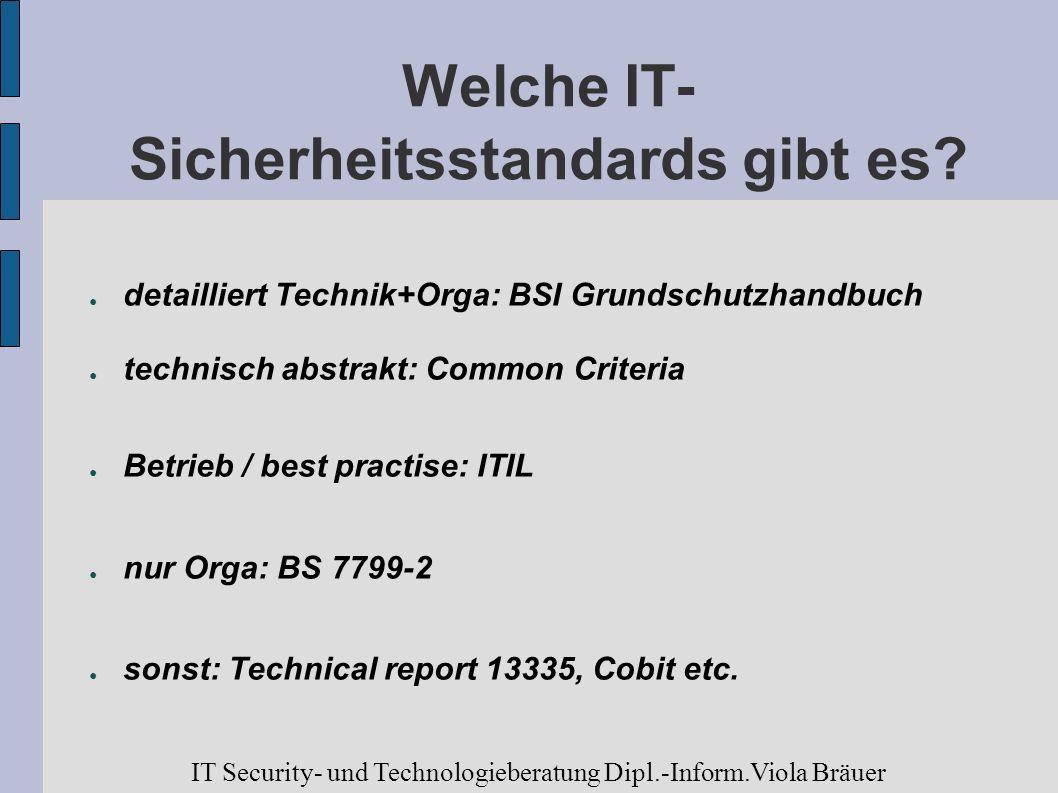 Welche IT- Sicherheitsstandards gibt es? detailliert Technik+Orga: BSI Grundschutzhandbuch technisch abstrakt: Common Criteria Betrieb / best practise