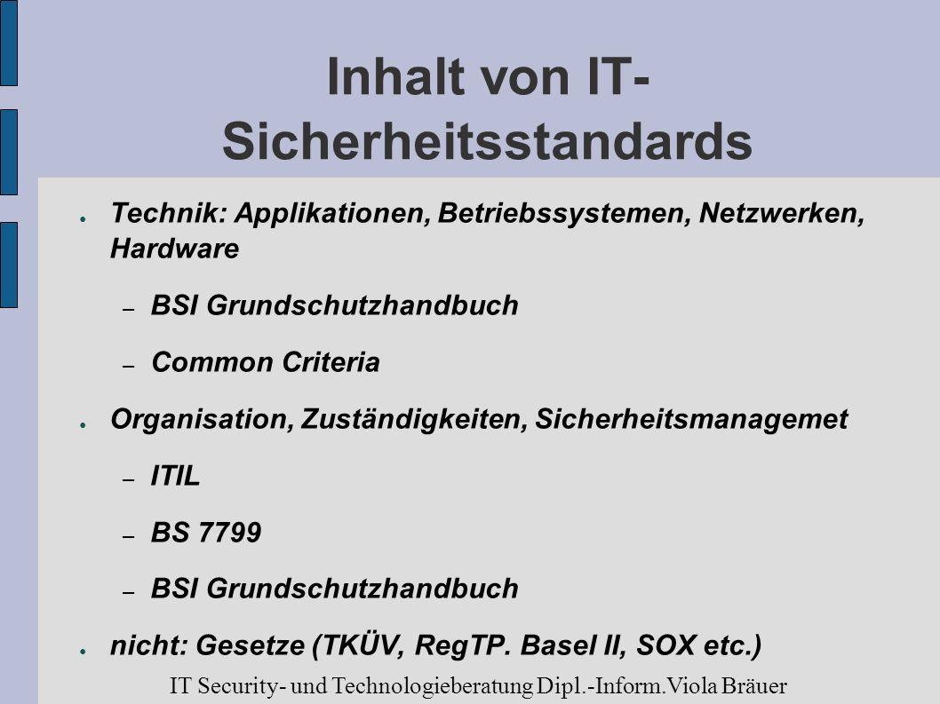 Inhalt von IT- Sicherheitsstandards Technik: Applikationen, Betriebssystemen, Netzwerken, Hardware – BSI Grundschutzhandbuch – Common Criteria Organis