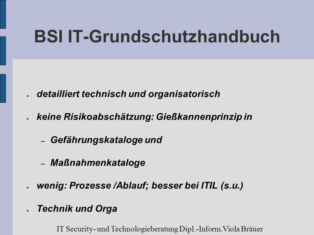 BSI IT-Grundschutzhandbuch detailliert technisch und organisatorisch keine Risikoabschätzung: Gießkannenprinzip in – Gefährungskataloge und – Maßnahme