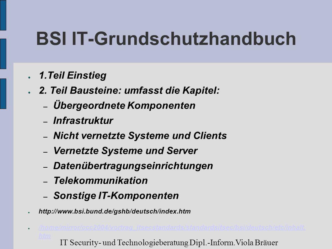 BSI IT-Grundschutzhandbuch 1.Teil Einstieg 2. Teil Bausteine: umfasst die Kapitel: – Übergeordnete Komponenten – Infrastruktur – Nicht vernetzte Syste