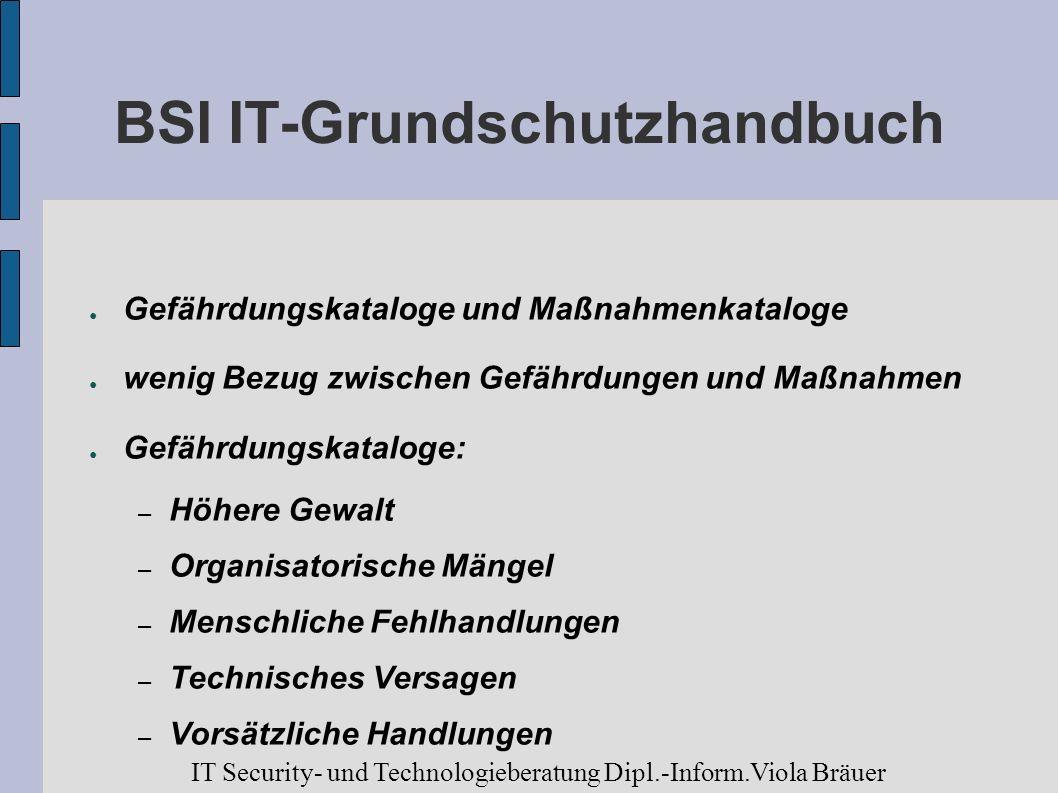 BSI IT-Grundschutzhandbuch Gefährdungskataloge und Maßnahmenkataloge wenig Bezug zwischen Gefährdungen und Maßnahmen Gefährdungskataloge: – Höhere Gew