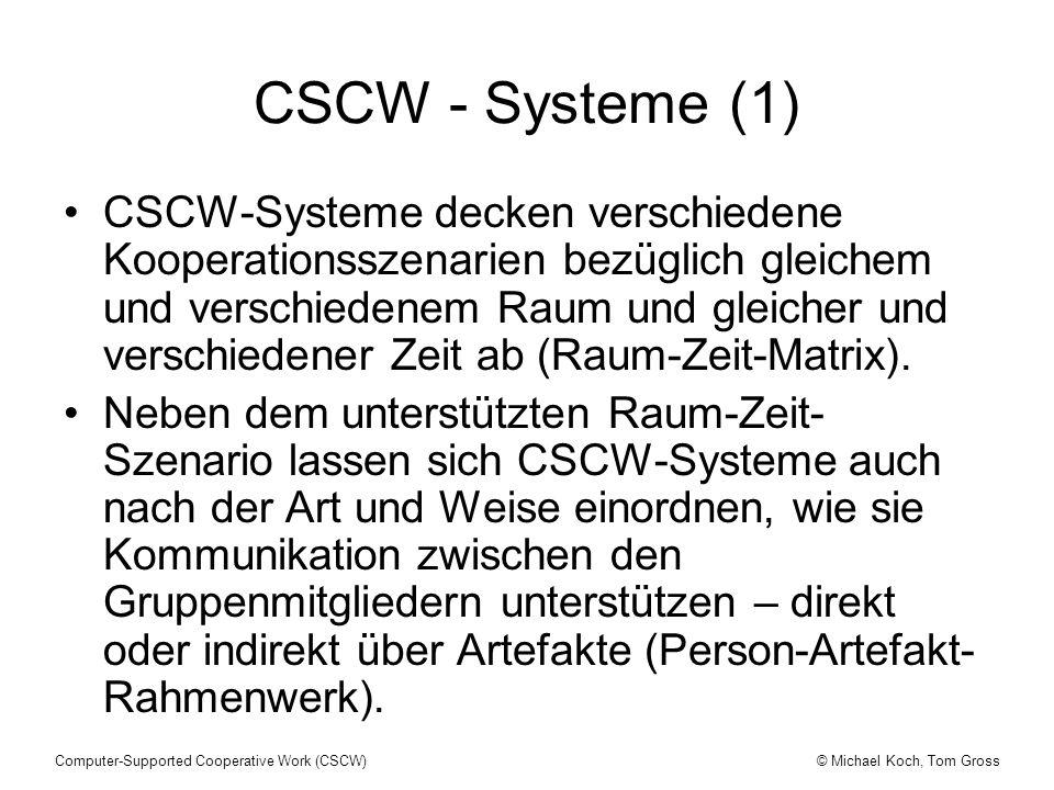 © Michael Koch, Tom GrossComputer-Supported Cooperative Work (CSCW) CSCW - Systeme (1) CSCW-Systeme decken verschiedene Kooperationsszenarien bezüglic