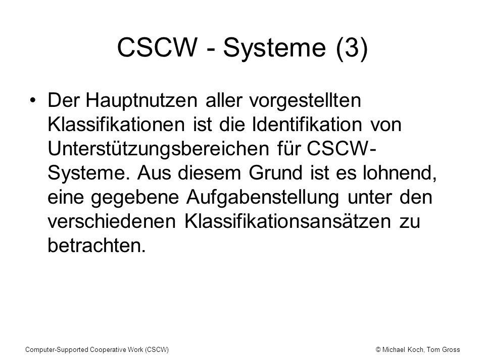 © Michael Koch, Tom GrossComputer-Supported Cooperative Work (CSCW) CSCW - Systeme (3) Der Hauptnutzen aller vorgestellten Klassifikationen ist die Id