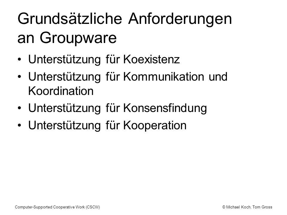 © Michael Koch, Tom GrossComputer-Supported Cooperative Work (CSCW) Grundsätzliche Anforderungen an Groupware Unterstützung für Koexistenz Unterstützu