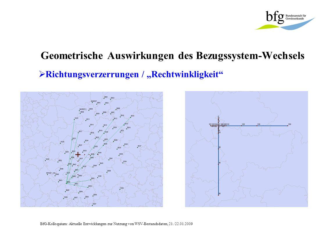 BfG-Kolloquium: Aktuelle Entwicklungen zur Nutzung von WSV-Bestandsdaten, 21./22.01.2009 Geometrische Auswirkungen des Bezugssystem-Wechsels Richtungsverzerrungen vernachlässigbar .