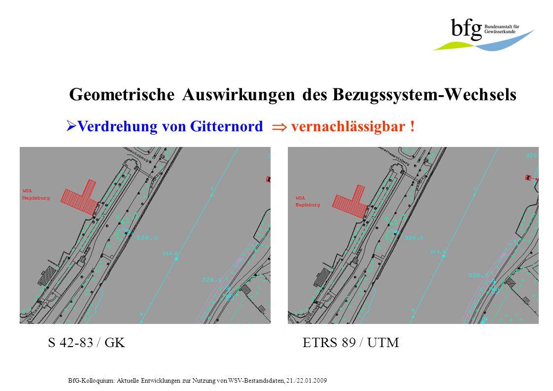 BfG-Kolloquium: Aktuelle Entwicklungen zur Nutzung von WSV-Bestandsdaten, 21./22.01.2009 Geometrische Auswirkungen des Bezugssystem-Wechsels Verdrehung von Gitternord vernachlässigbar !