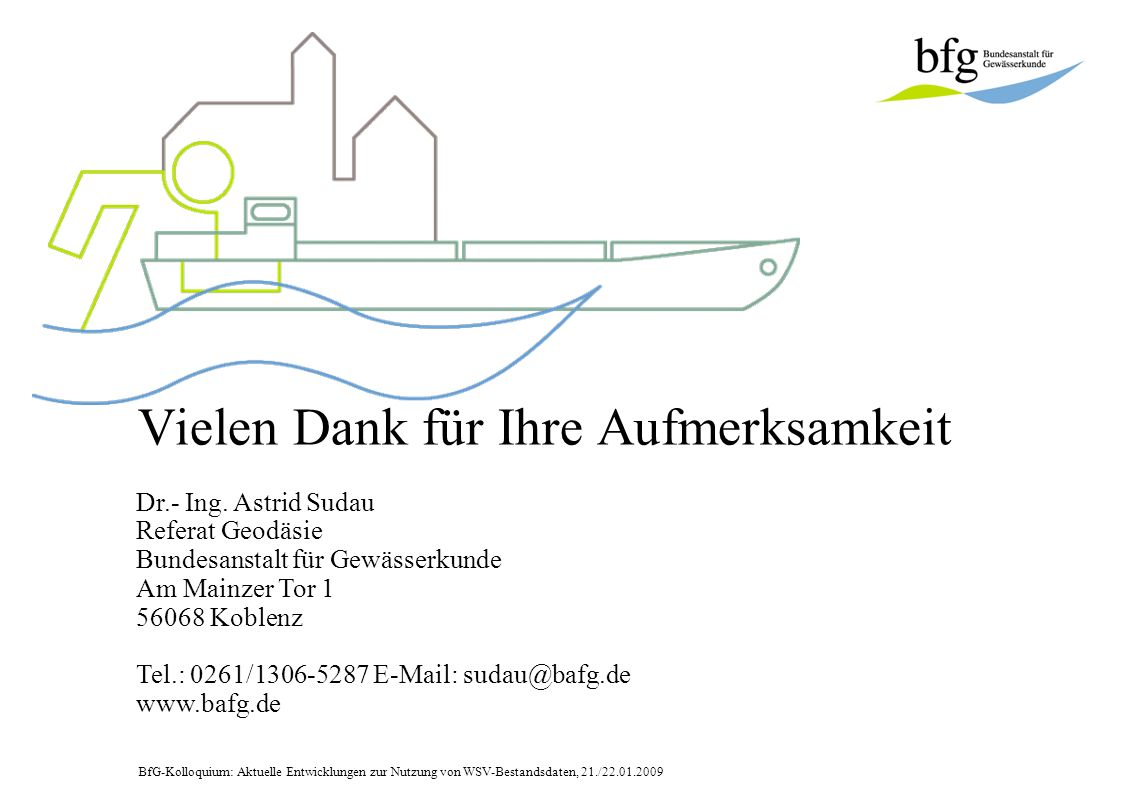 BfG-Kolloquium: Aktuelle Entwicklungen zur Nutzung von WSV-Bestandsdaten, 21./22.01.2009 Vielen Dank für Ihre Aufmerksamkeit Dr.- Ing. Astrid Sudau Re
