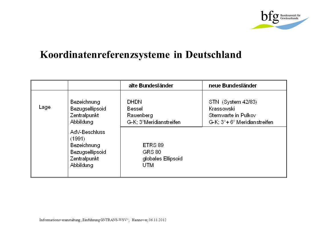 Informationsveranstaltung Einführung GNTRANS-WSV, Hannover, 06.11.2012 Koordinatenreferenzsysteme in Deutschland