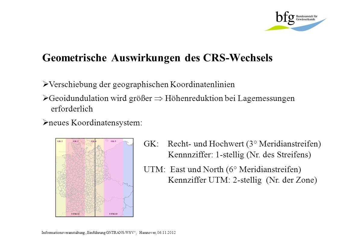 Informationsveranstaltung Einführung GNTRANS-WSV, Hannover, 06.11.2012 Geometrische Auswirkungen des CRS-Wechsels Verschiebung der geographischen Koordinatenlinien Geoidundulation wird größer Höhenreduktion bei Lagemessungen erforderlich neues Koordinatensystem: GK: Recht- und Hochwert (3° Meridianstreifen) Kennnziffer: 1-stellig (Nr.