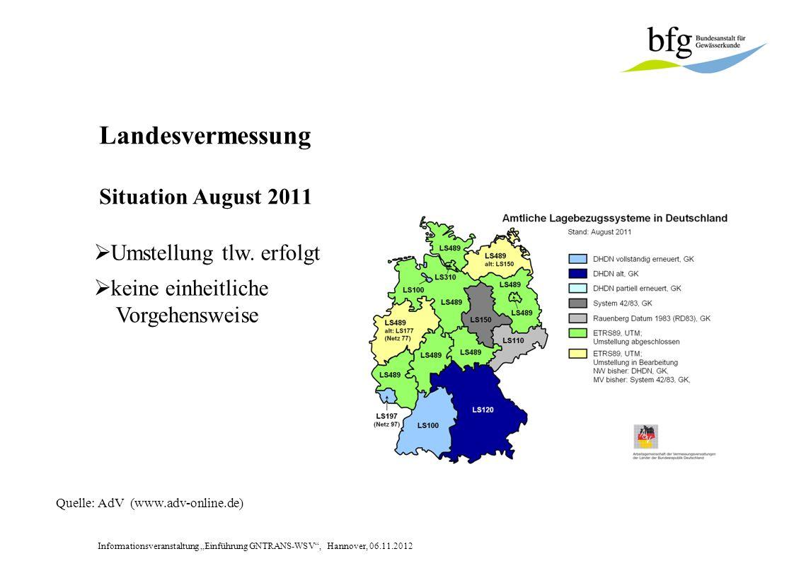 Informationsveranstaltung Einführung GNTRANS-WSV, Hannover, 06.11.2012 Landesvermessung Situation August 2011 Quelle: AdV (www.adv-online.de) Umstellung tlw.