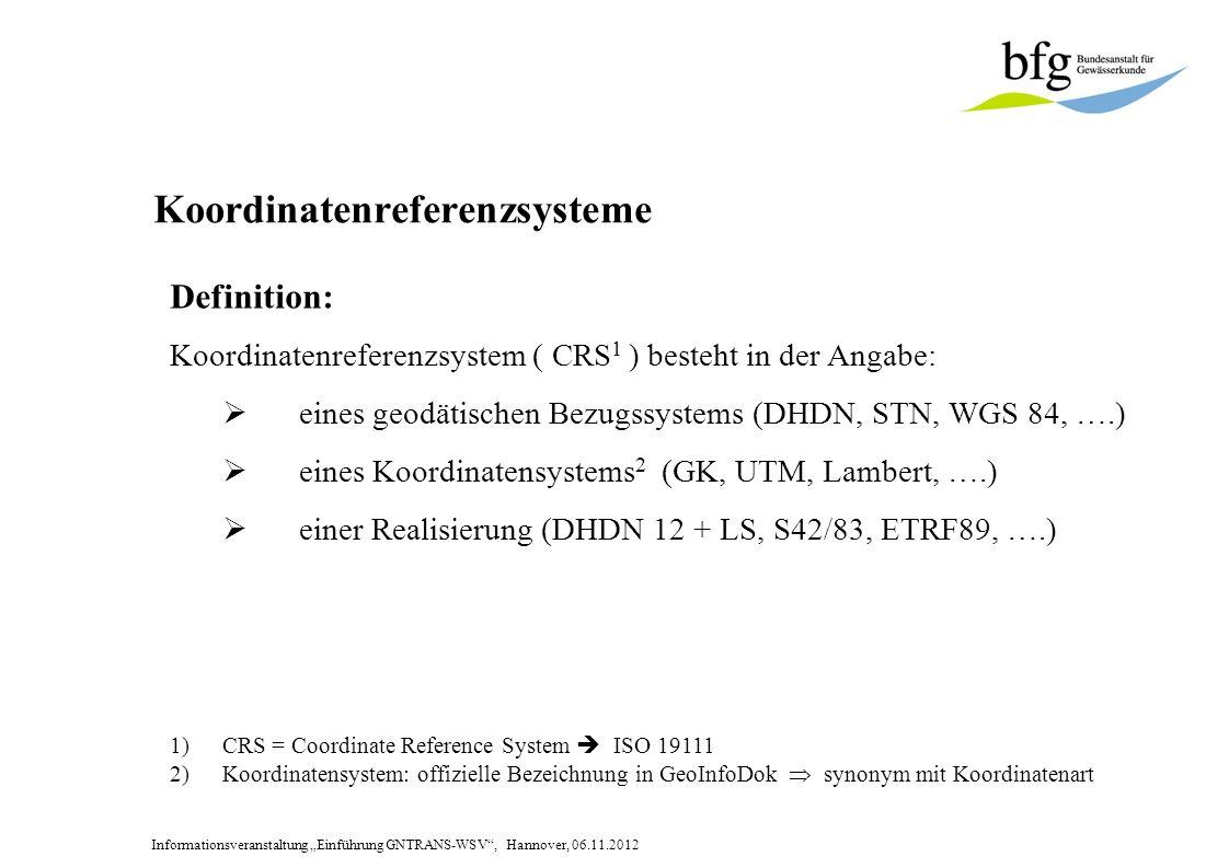 Informationsveranstaltung Einführung GNTRANS-WSV, Hannover, 06.11.2012 Geometrische Auswirkungen des CRS-Wechsels Bezugssystem / Abbildung Rechtswert / East Hochwert / North DHDN (GK) 4 408314,483 5810130,069 ETRS 89 (UTM) 32 612275,451 5808675,040 Beispiel für ein und den selben Punkt P: