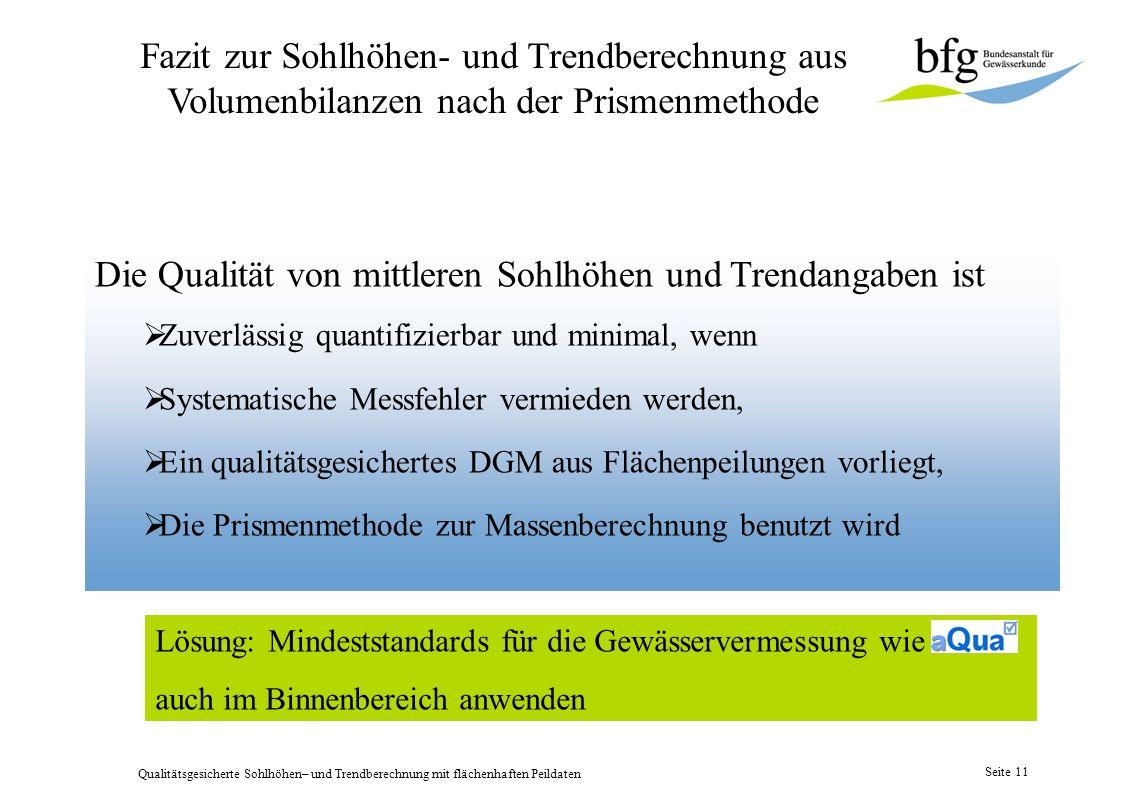 Qualitätsgesicherte Sohlhöhen– und Trendberechnung mit flächenhaften Peildaten Seite 10 Längsprofil mit Sohlhöhen + Trend Rhein KM 508,0 – KM 530,0 Mi