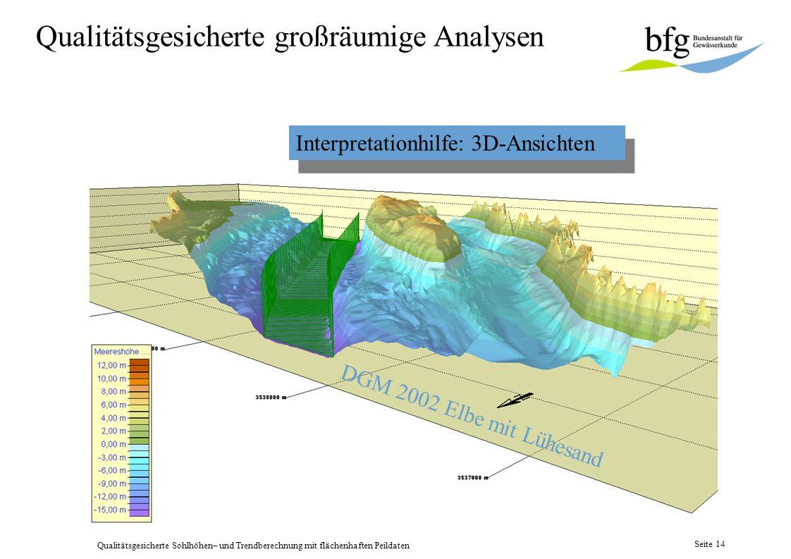Qualitätsgesicherte Sohlhöhen– und Trendberechnung mit flächenhaften Peildaten Seite 13 Elbe Km 638,1 – 652,0 2. DGM berechnen nach Auflösung festlege