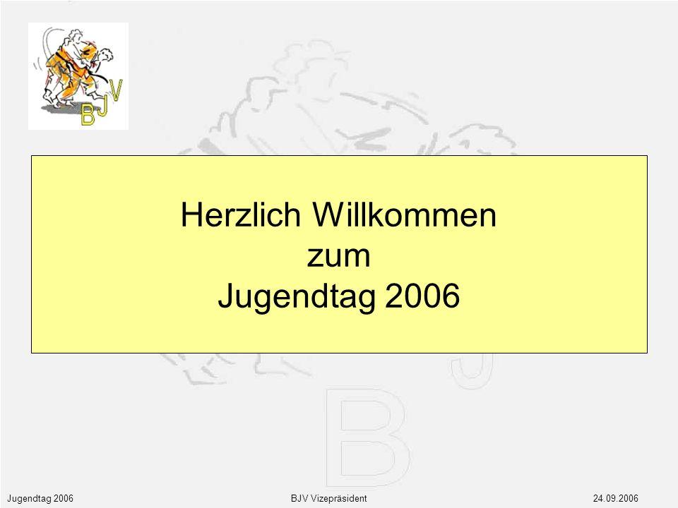 Jugendtag 2006 BJV Vizepräsident 24.09.2006 Herzlich Willkommen zum Jugendtag 2006