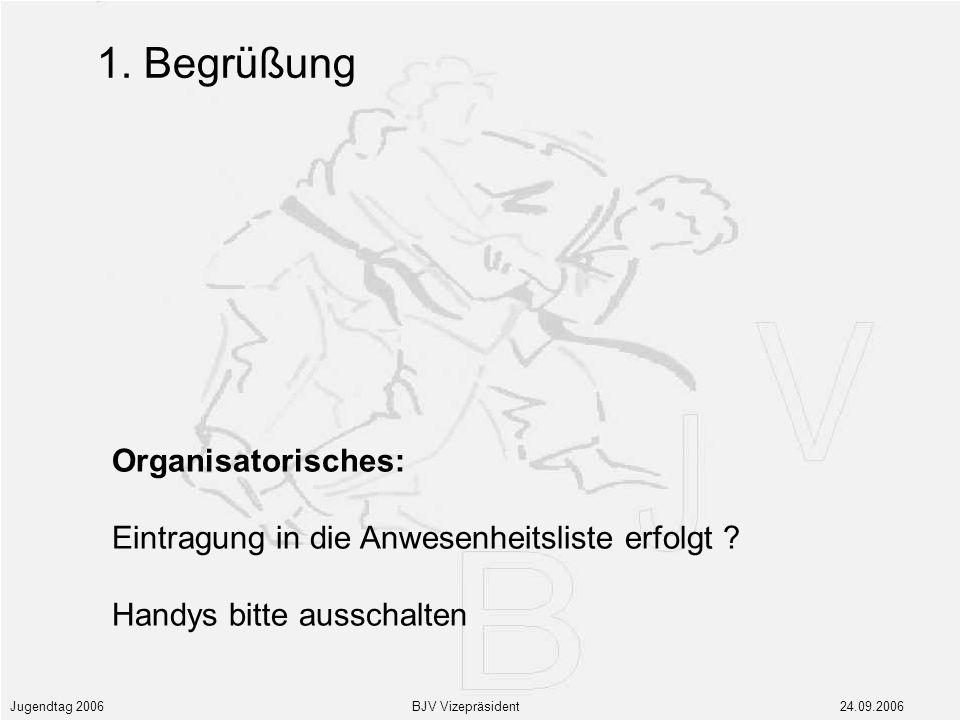 Jugendtag 2006 BJV Vizepräsident 24.09.2006 Organisatorisches: Eintragung in die Anwesenheitsliste erfolgt .