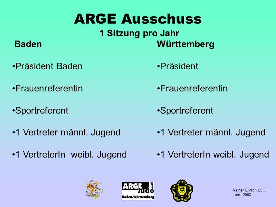 Rainer Ehrlich LSK Juni1 2003 ARGE Ausschuss 1 Sitzung pro Jahr Baden Präsident Baden Frauenreferentin Sportreferent 1 Vertreter männl. Jugend 1 Vertr