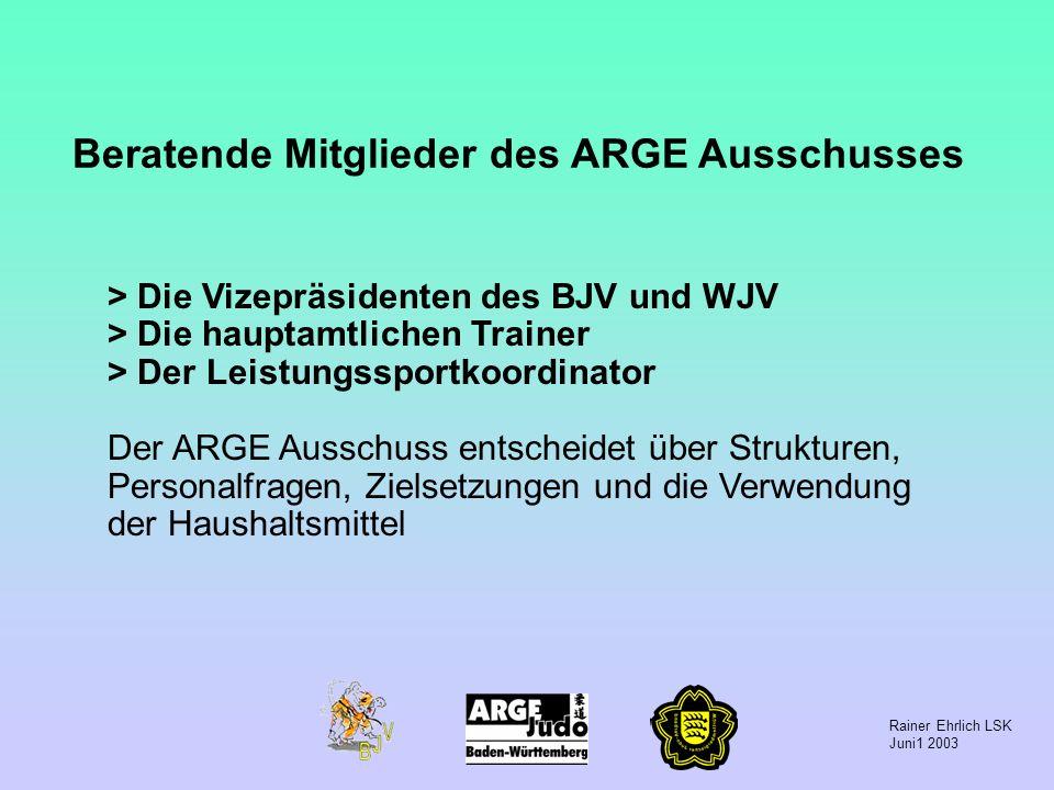 Rainer Ehrlich LSK Juni1 2003 > Die Vizepräsidenten des BJV und WJV > Die hauptamtlichen Trainer > Der Leistungssportkoordinator Der ARGE Ausschuss en