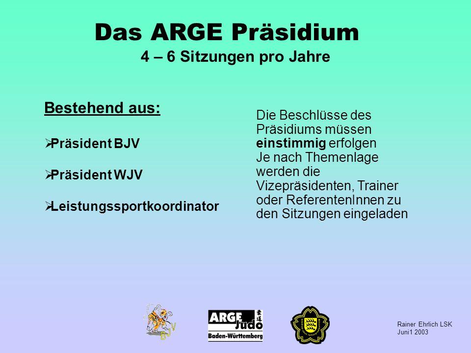 Rainer Ehrlich LSK Juni1 2003 Das ARGE Präsidium 4 – 6 Sitzungen pro Jahre Bestehend aus: Präsident BJV Präsident WJV Leistungssportkoordinator Die Be