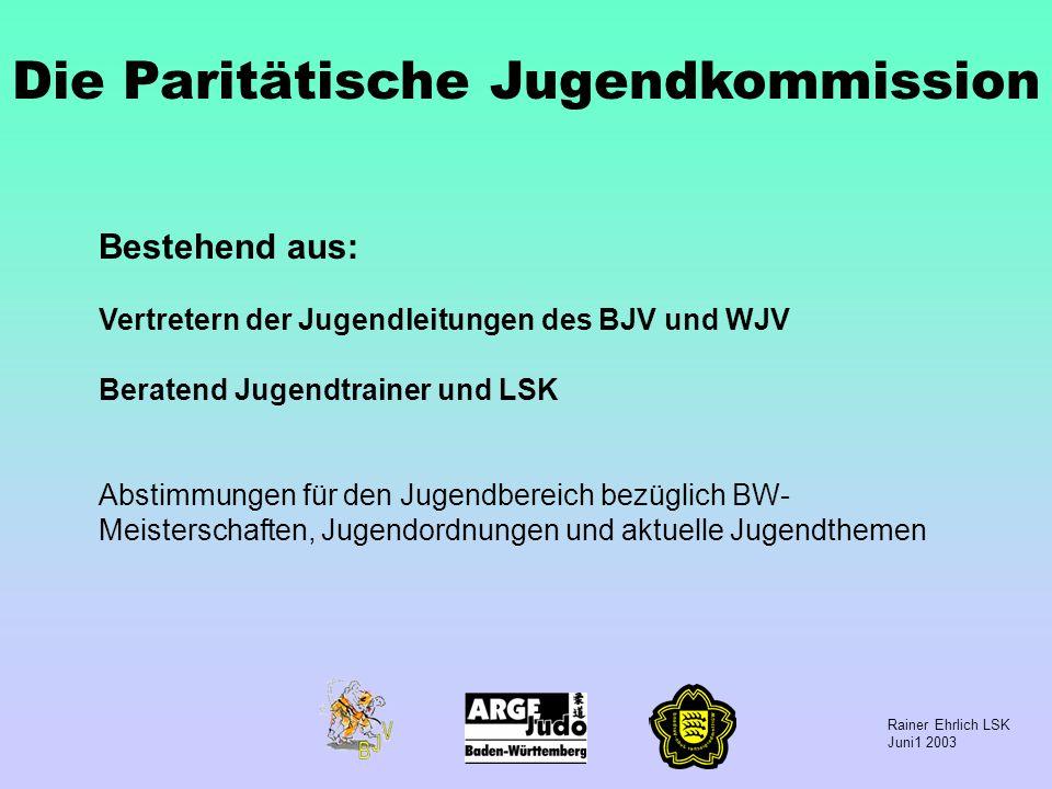Rainer Ehrlich LSK Juni1 2003 Die Paritätische Jugendkommission Bestehend aus: Vertretern der Jugendleitungen des BJV und WJV Beratend Jugendtrainer u