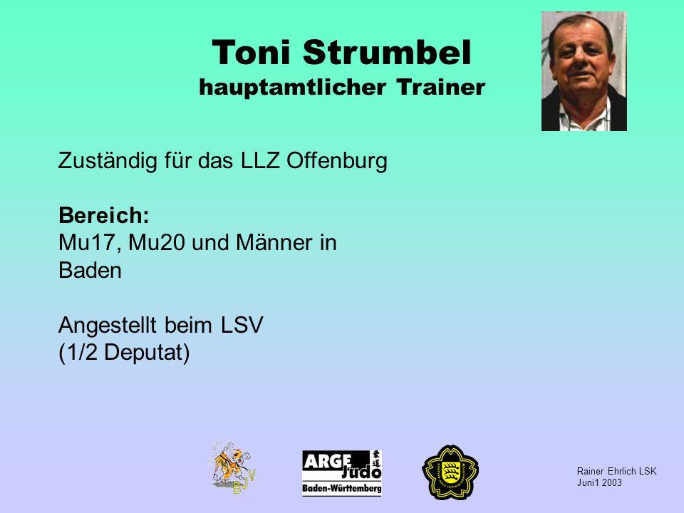 Rainer Ehrlich LSK Juni1 2003 Toni Strumbel hauptamtlicher Trainer Zuständig für das LLZ Offenburg Bereich: Mu17, Mu20 und Männer in Baden Angestellt