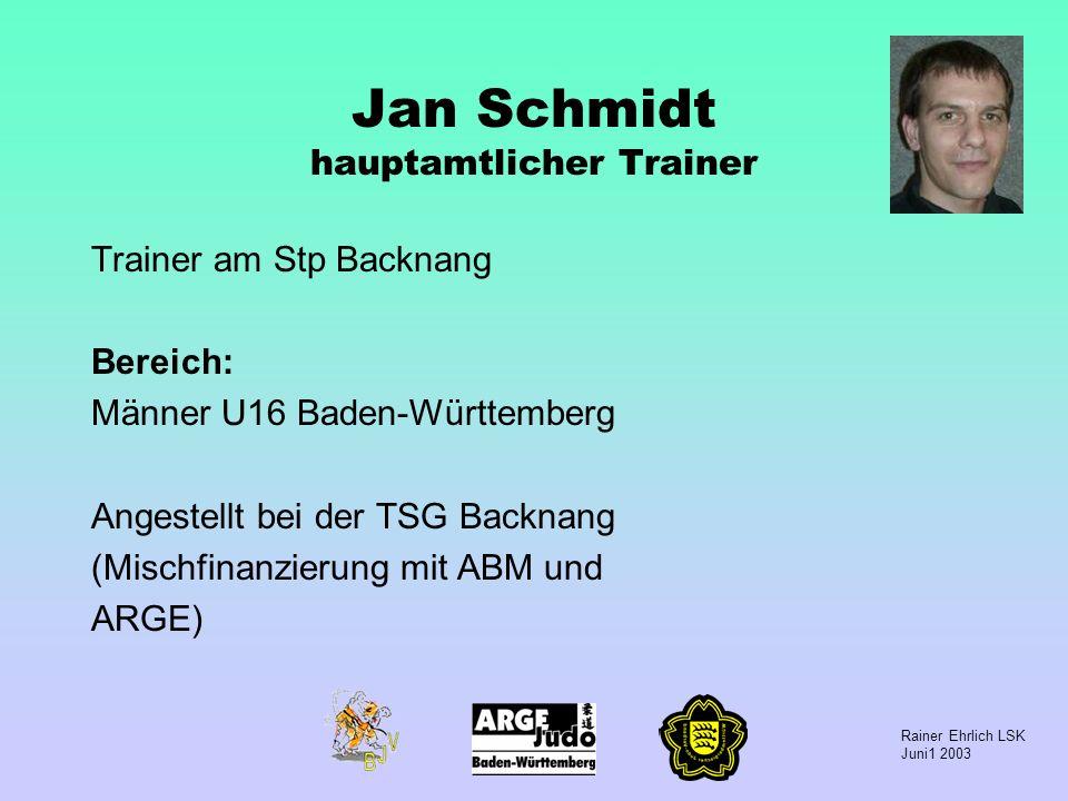 Rainer Ehrlich LSK Juni1 2003 Jan Schmidt hauptamtlicher Trainer Trainer am Stp Backnang Bereich: Männer U16 Baden-Württemberg Angestellt bei der TSG